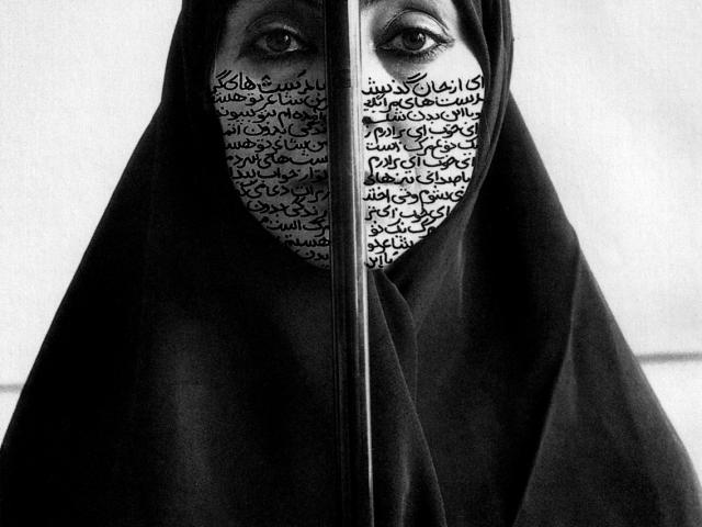 "Rebellious Silence; Shirin Neshat, 1994 CE, Black and White Photograph, 11"" x 14"""