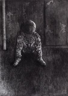 "Melancholia II, etching, 21x15"""