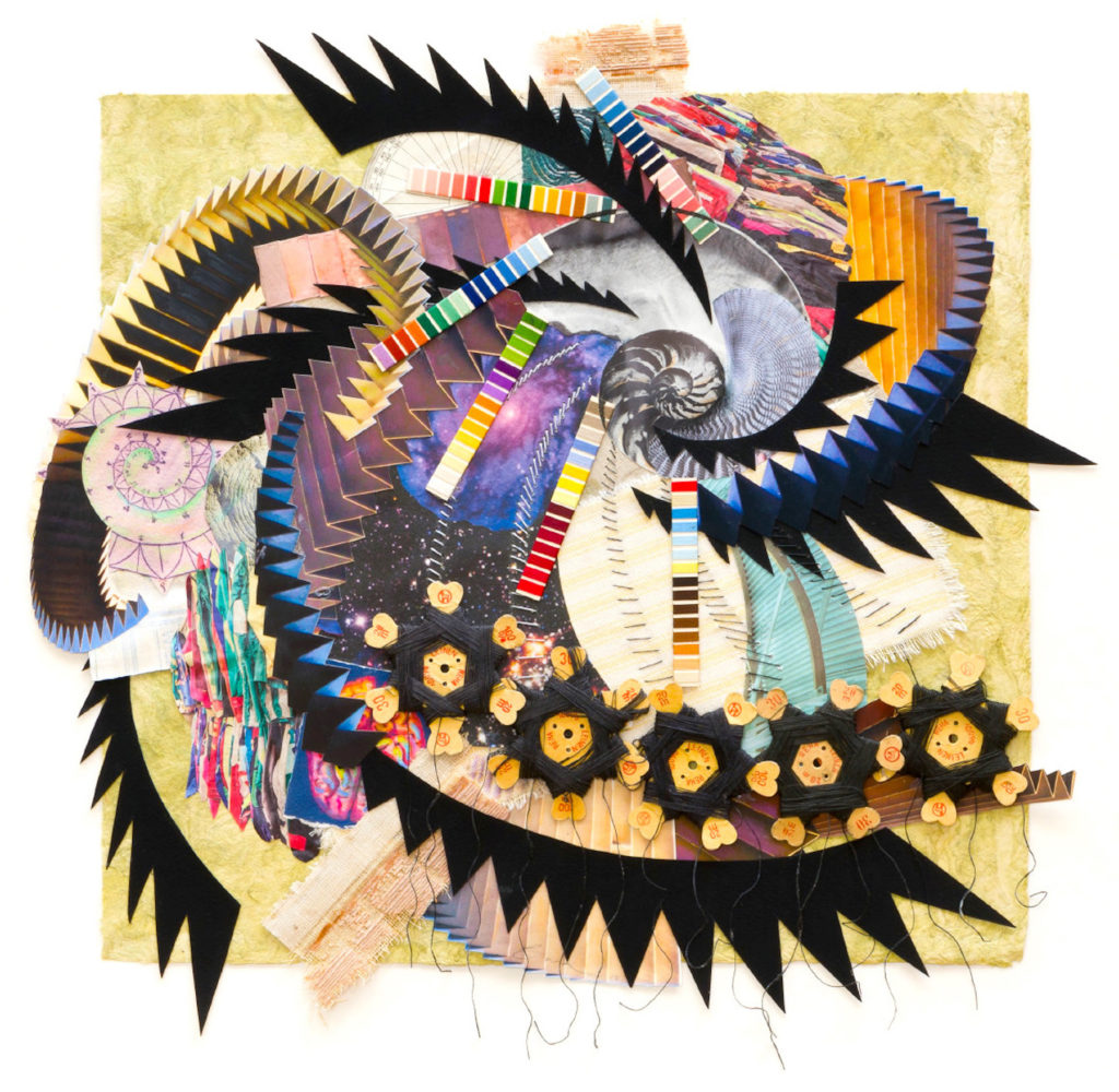 """A Bascove.Spirals, photographs, gouache, drawing, collage, fabric, thread, 17 x 17 1:2"""", 2018"""