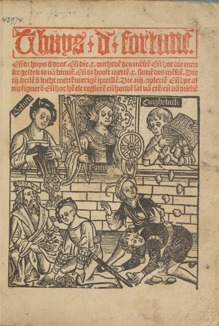 Title-page, The House of Fortune (Utrecht, c. 1540)