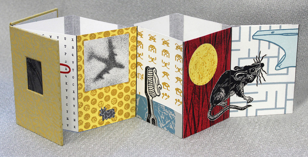"""Adam Larsen.""""Graphic Goulash"""", 5"""" x 3 5:8"""" x 5:8"""" (closed), variable dimensions opened, artists' book- concertina binding with intaglio etching & engraving, relief, screenprinting, 2018"""
