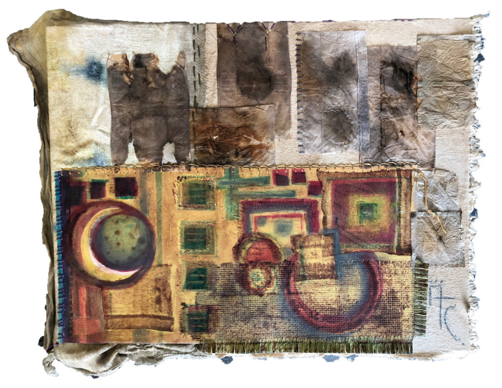 Annalisa Campbell.Luna Tapestry 34 x 15 Collagraph, Ecoprint, Collage, Stitching 2019