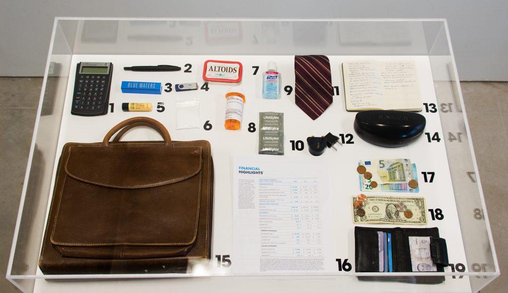 Artifacts of the Modern Business Man, Natalie Cheatham, 2019, Found Objects, Wood, Plexiglass, ~ 4 x 4.5 x 3'
