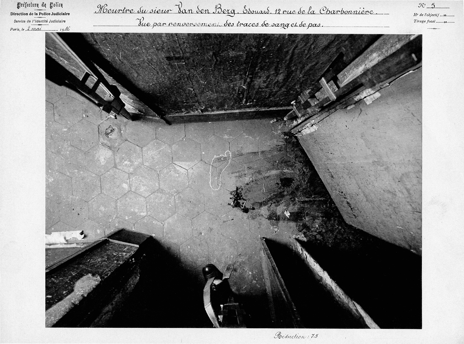Crime Scene Photograph by Alphonse Bertillon, 9 May 1916