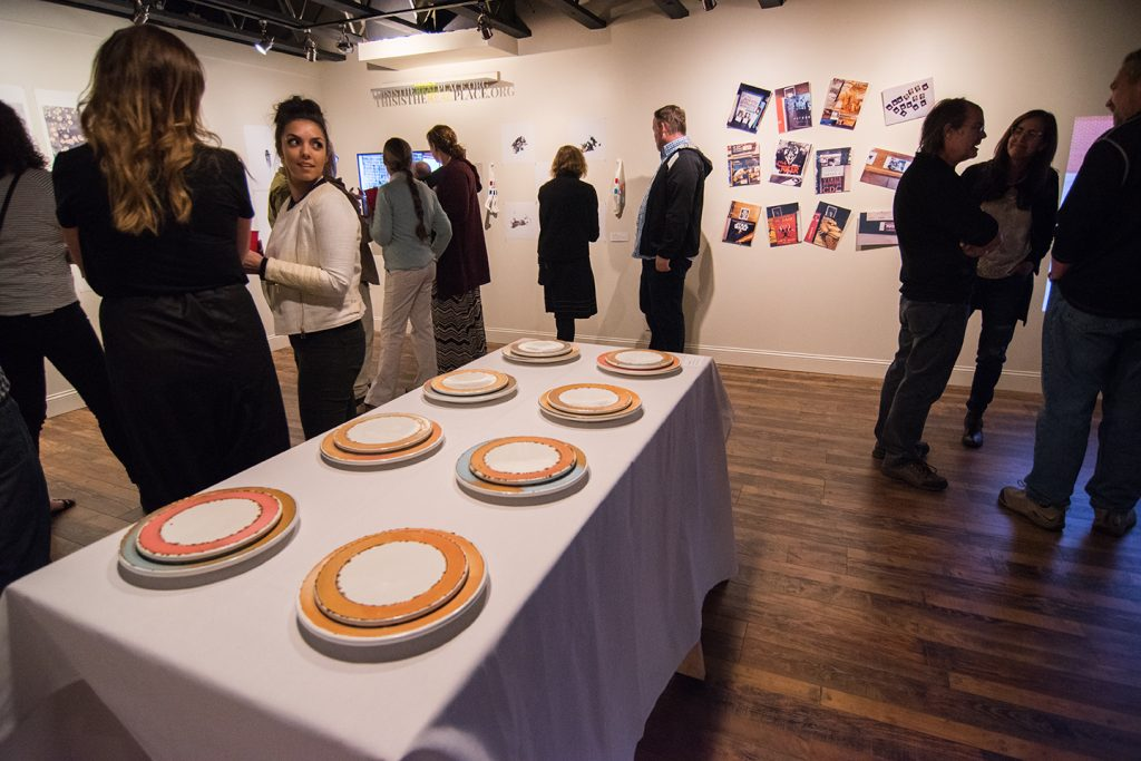 Warnock Class Exhibition, Miri Gallery, April 2016, artwork by Austin Riddle (foreground), and Caroline Byard (background)