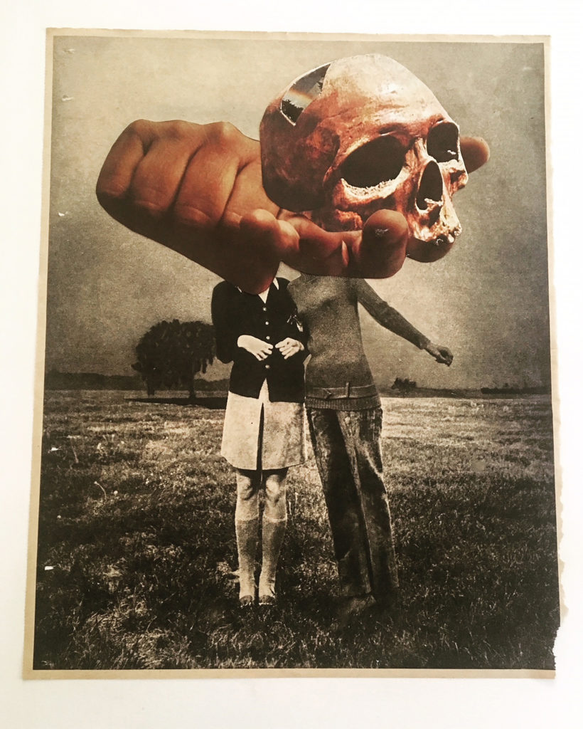 """Dafna Steinberg.Untitled (Skull in Hand), 21"""" x 18"""", mixed vintage paper collage, 2018"""