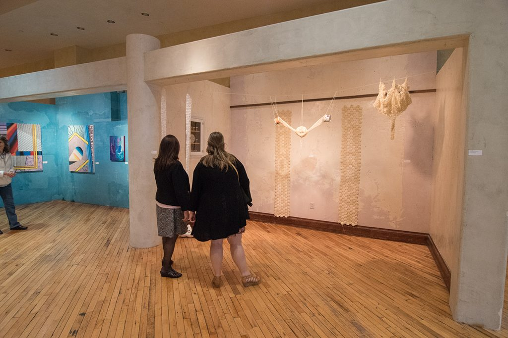 Embark Exhibition, April 2017. Artwork: Kyle Wengler (left background), Anita Hawkins (right)