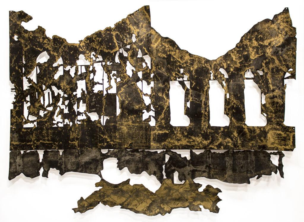 """Erik WaterKotte.""""Mescolato con il Fumo II,"""" 32x40"""", mixed-media on cut paper, 2017"""