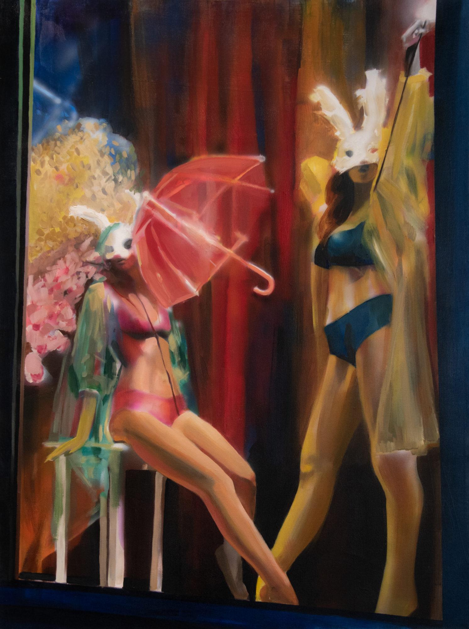 """Bright-Eyed and Bushy-Tailed"", Alyssa Hood, 2019, acrylic on canvas, 40 x 30 in."