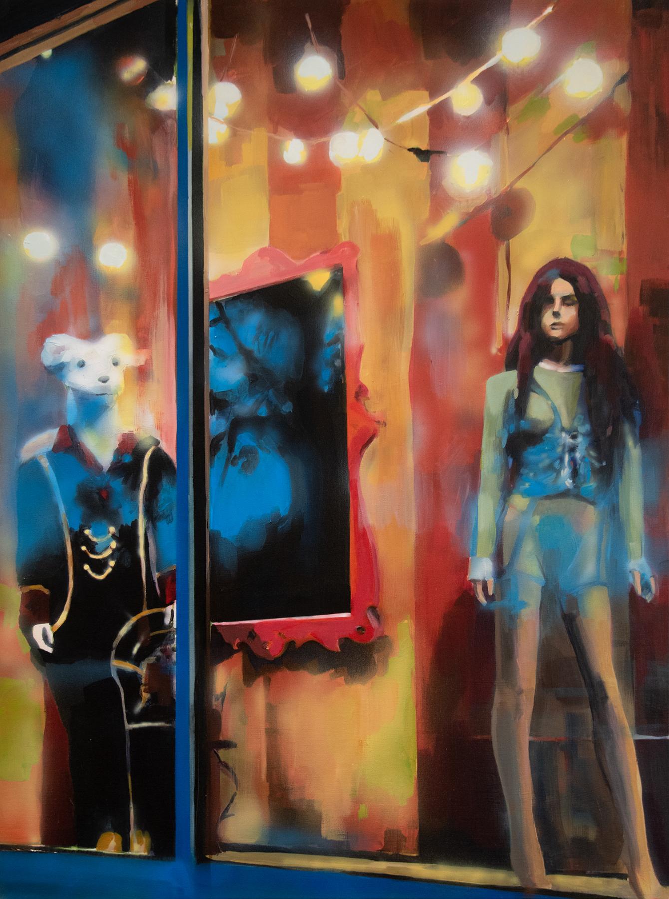 """Popcorn Included"", Alyssa Hood, 2019, acrylic on canvas, 40 x 30 in."