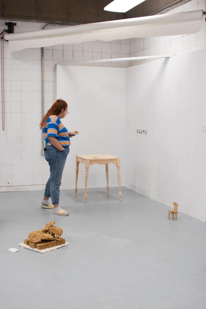 This Is Not A Furniture Show Exhibition; artwork by Eden Merkley, Valeria Johansen, and Matt Peterson (l-r)
