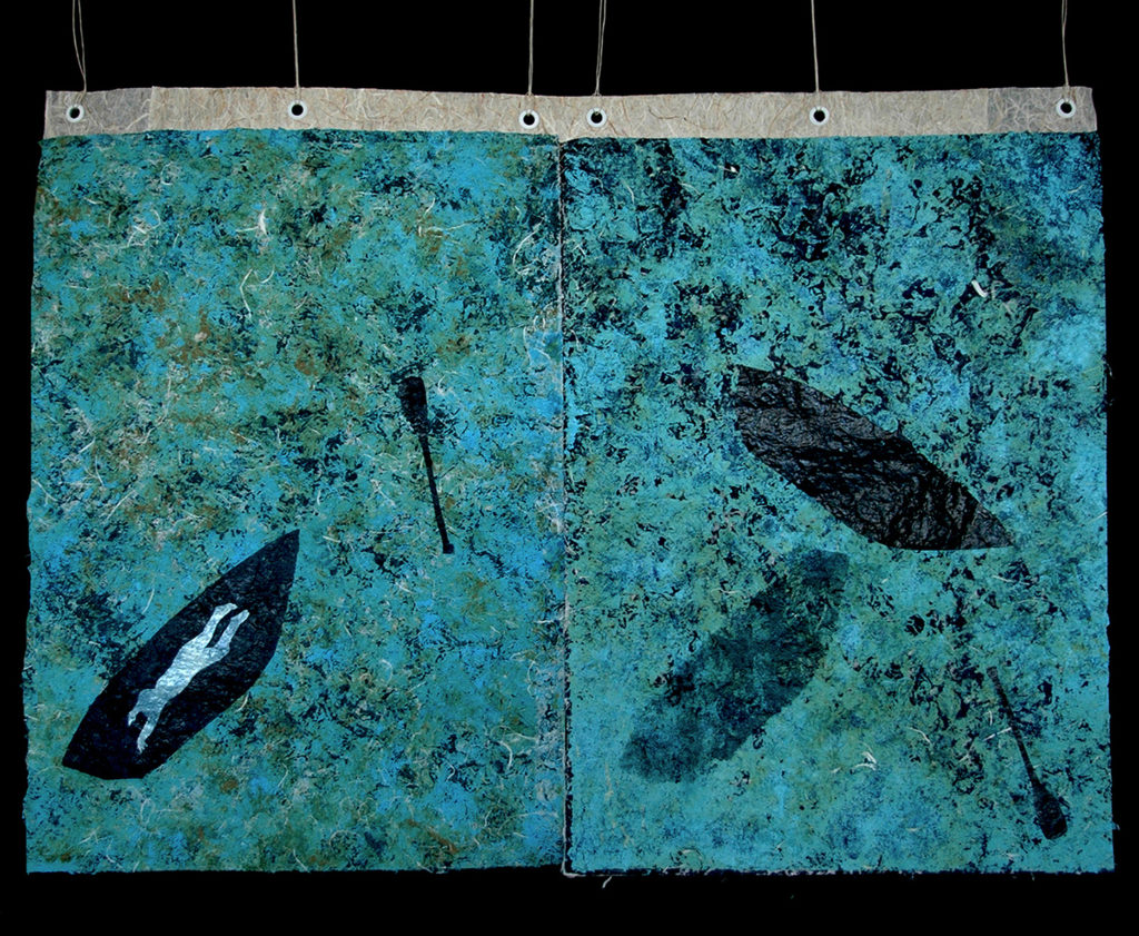 """Florence Alfano McEwin.Syria, For Alan Kurdi diptych monoprint 2016 30"""" x 44"""" Collagraph of vegetation and carborundum with stencils and pochoir on unryu"""