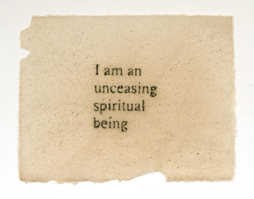 "Hannah Varamini.Unceasing Spiritual being (Dallas Willard), 8.5x11"", bull kelp and nori seaweed, 2019"