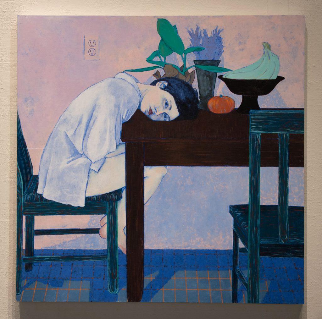 "Howard Clark Scholarship Exhibition, 2018, Gittins Gallery, - ""Julie Anne at Table"", Abigail Mitchell, 2018, acrylic on wood"