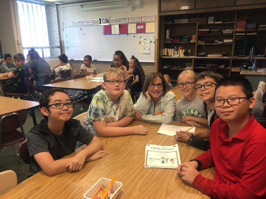 Twin Peaks Elementary students working on mural ideas