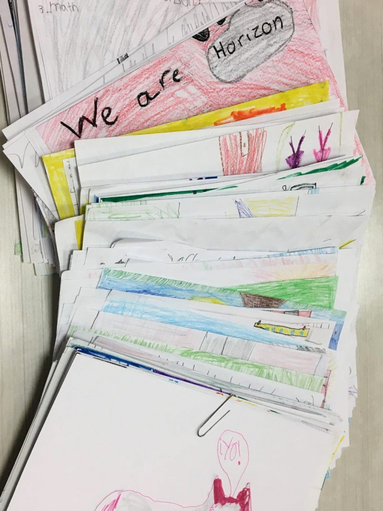 Student draw what makes their school special