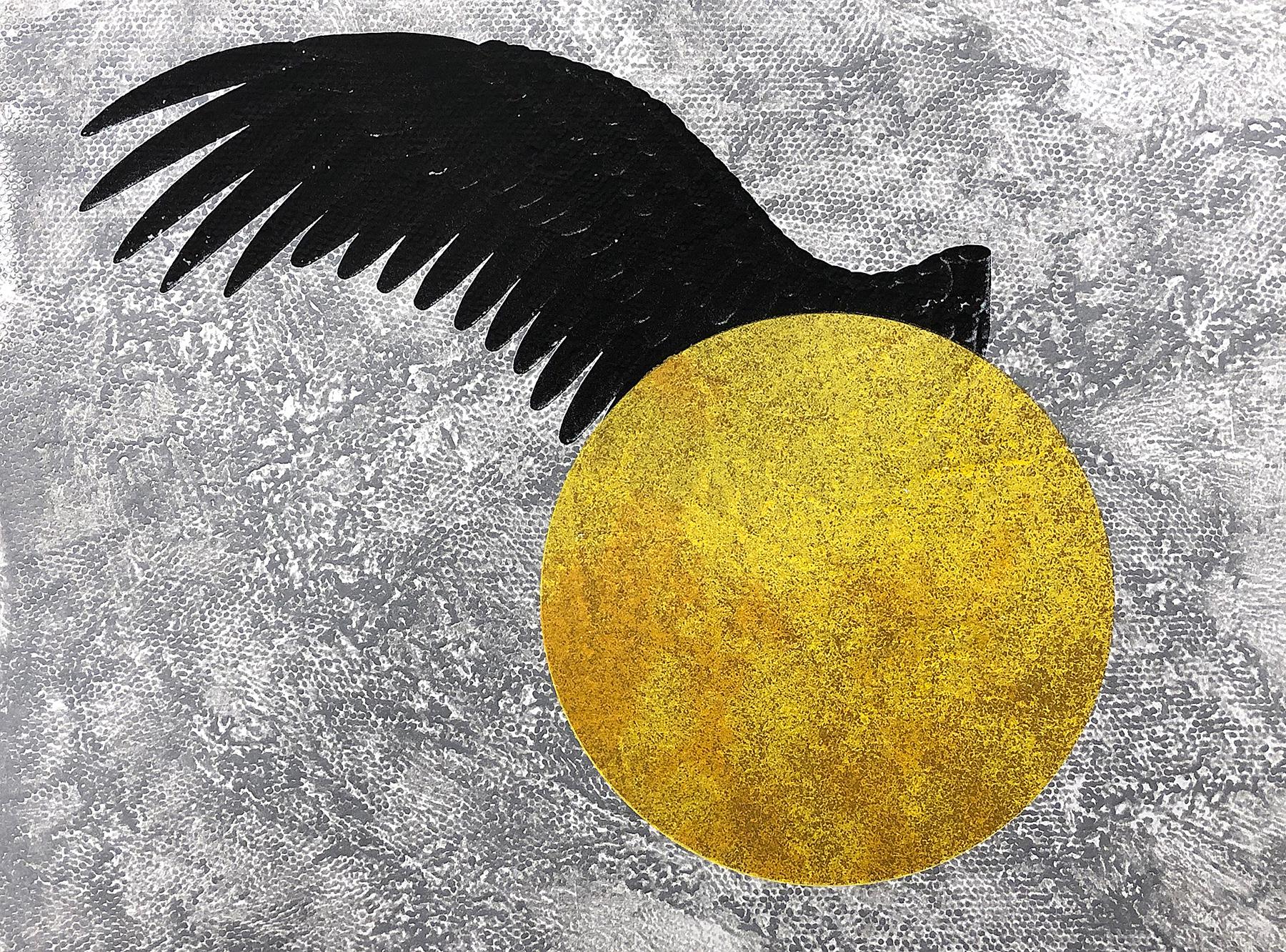 "Icarus - Noelle Olsen, 2020, collagraph / screenprint, 20 x 15"""