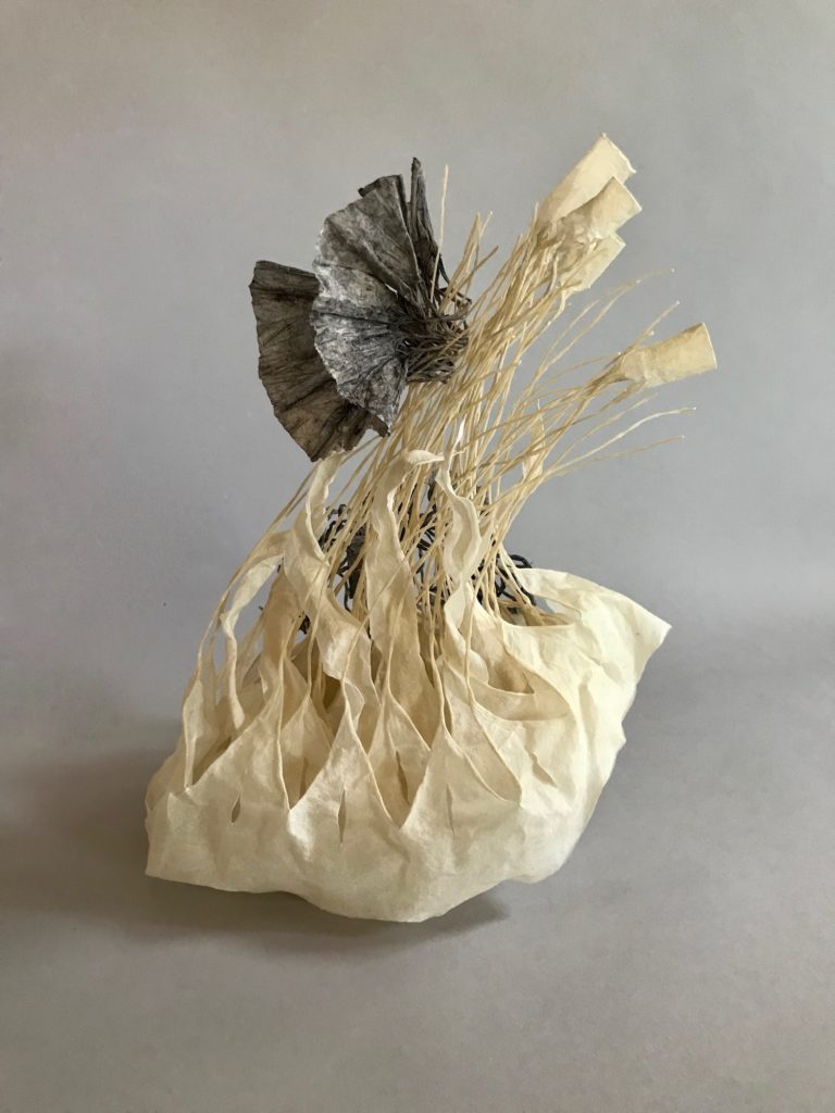 """Jocelyn Chateauvert.""""In the Weeds,"""" 14""""h x 12""""w x 10""""d, artist-made paper, 2019"""