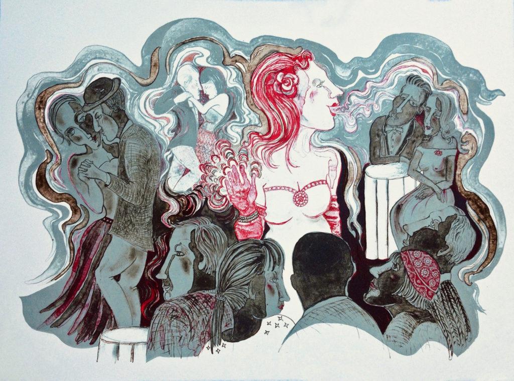 "Karen Butler.Cabaret, 22""x30"", lithograph (stone, 2 plates), 2019"