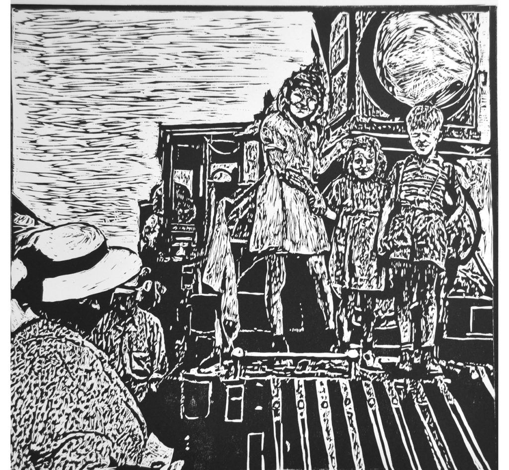 """Kathleen Ristinen.Spirit of Another Time. 17.75""""w x 17"""" h. woodcut. 2019"""