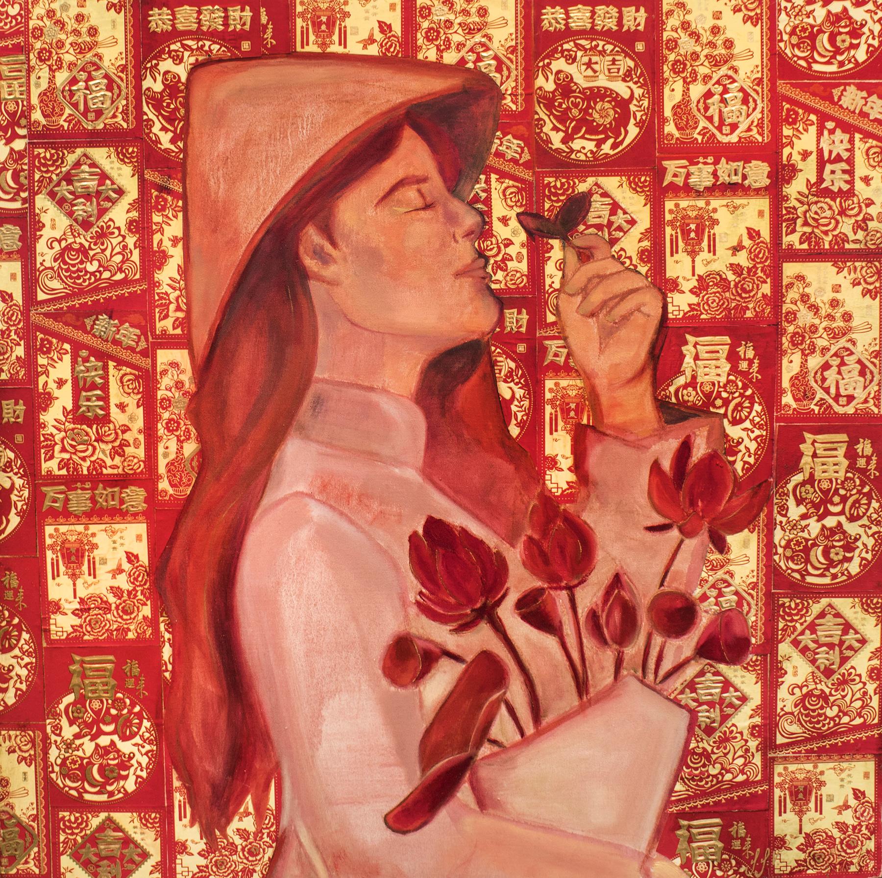 Li Xi - Tammy Vu, 2020, oil and paper on panel