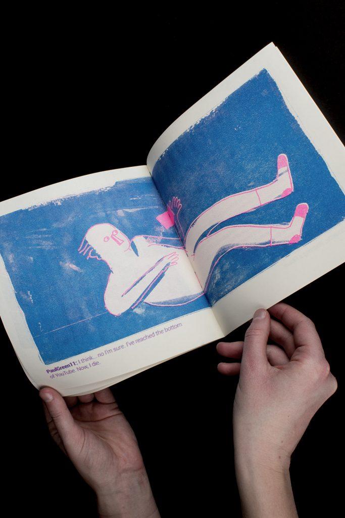 Watering a Flower, Maureen Mullen, 2020, risograph print