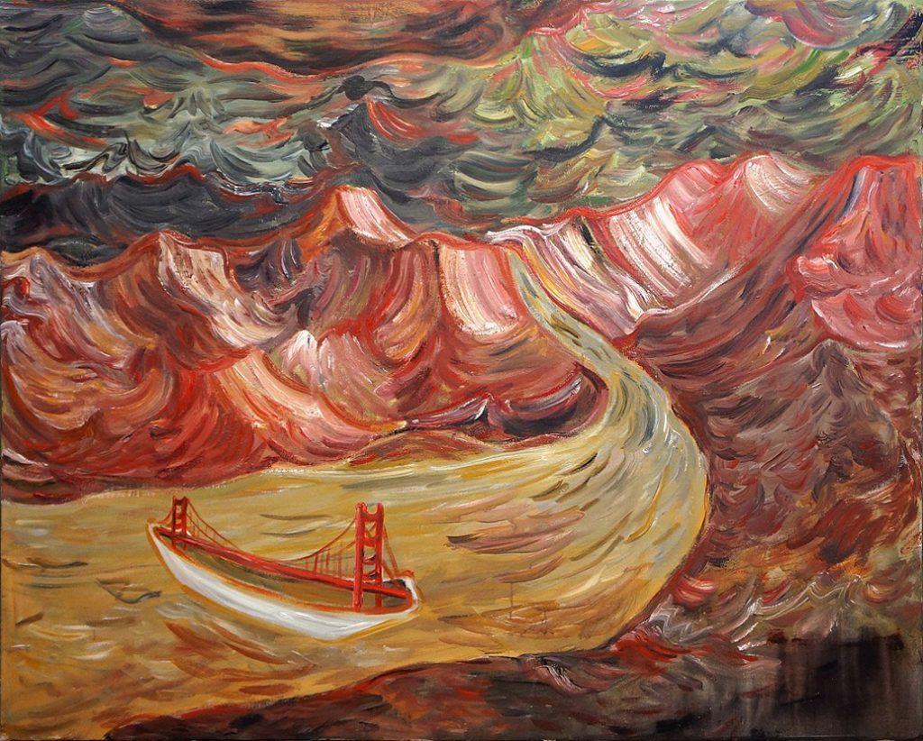 Bridge, Acrylic on Canvas, 58 x 72 inches, 2016