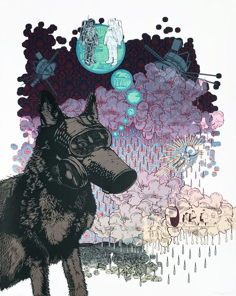 """Matthew Hopson-Walker.Plague Dog. 29"""" x 22"""", Screenprint and relief, 2018"""