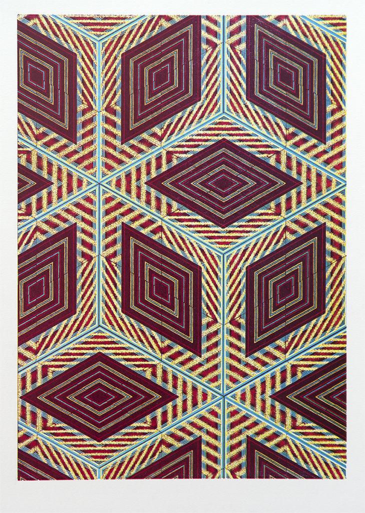Noah Breuer.Swatch 15, 22.5 x 16 inches, Woodcut, 2018