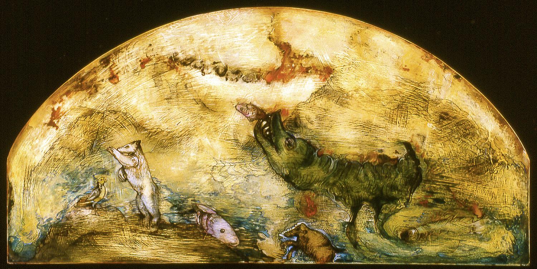 """A New World Bestiary, mixed media on panel, 24 x 48"""""""