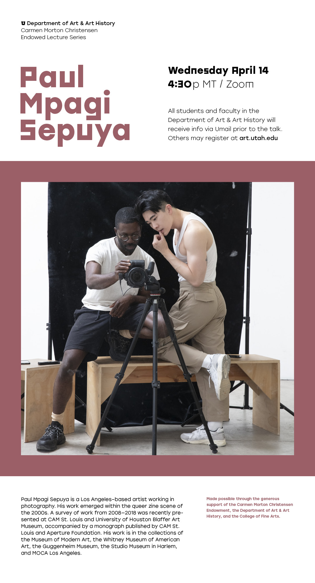 Visiting Artist Paul Mpagi Sepuya
