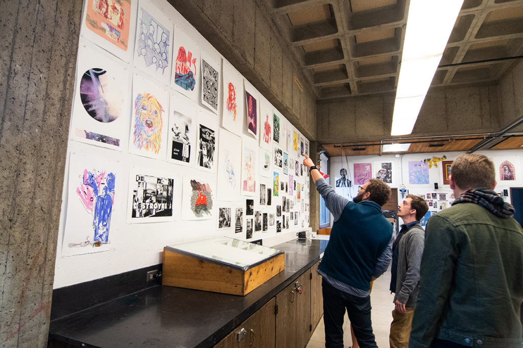 Annual Student Exhibition Opening Reception: Printmaking Student Work on display
