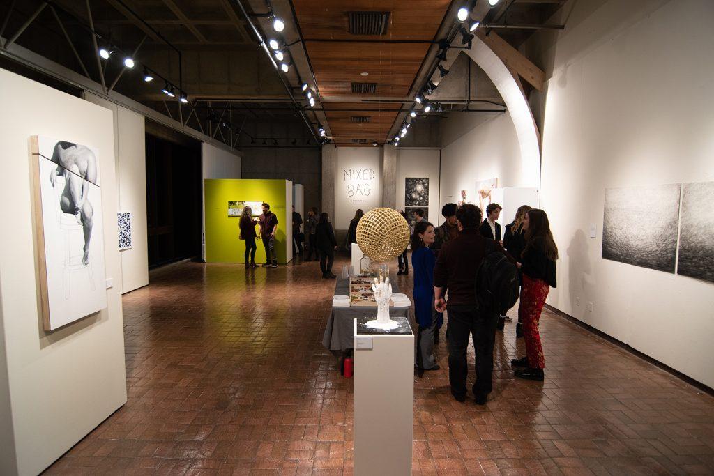 2020 MFA Interim Exhibition: Mixed Bag, artwork: Bryce Billings, Dana Hansen, Holly Nielsen (l-r)