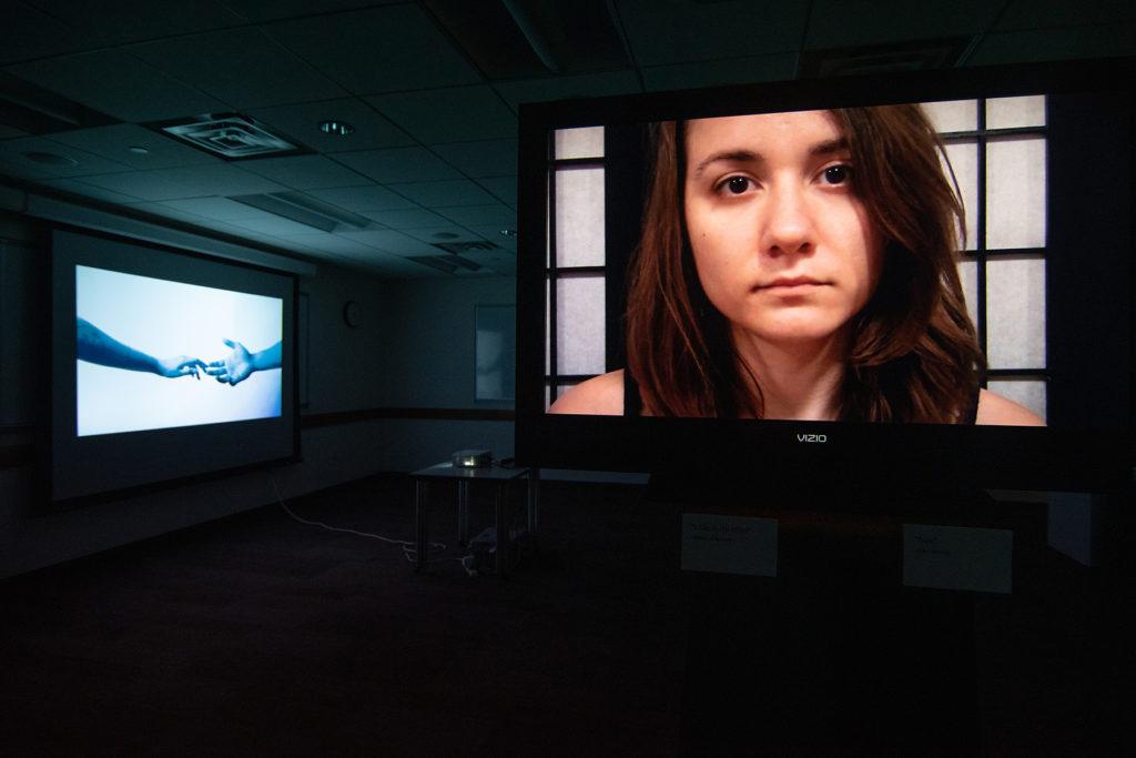 Video Evidence Exhibition, artwork by Araceli Haslam (left) and Eden Merkeley (right)