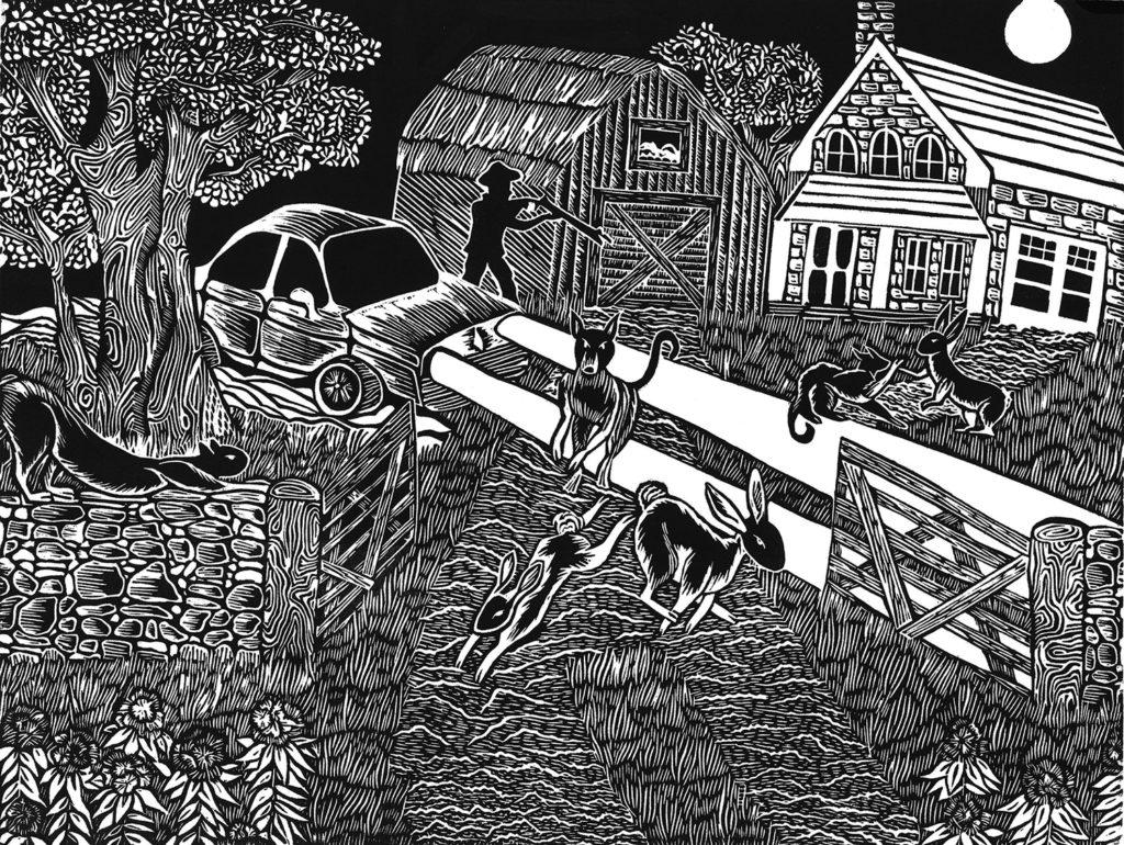 "Saraj Bogdal.The Raid, 9"" x 12"", linoleum block print, 2019"
