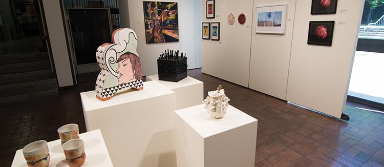 2017 Student Exhibition, Gittins Gallery. Artwork: Chloe Rice, Macy Kennett, Bobby Robertson (foreground); Amy Ungricht, Tom Shrieve, Emina Tatarevic, Scott Beadles, Aubrey Evans (background)