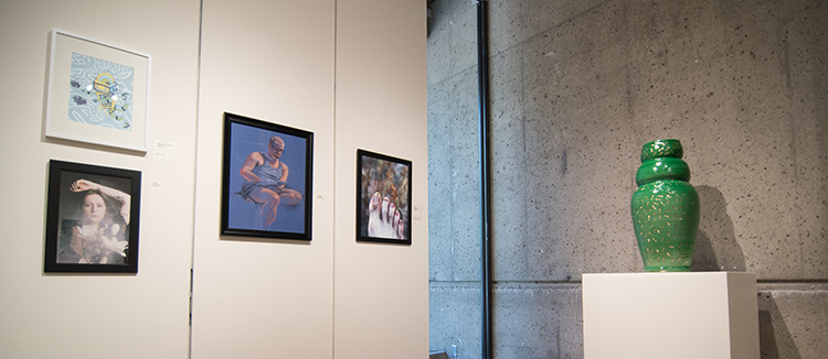 2017 Student Exhibition, Gittins Gallery. Artwork: Dane Goodwin, Bri Bergman, Eva Holbrook, Patrick Charles, Travis Moss