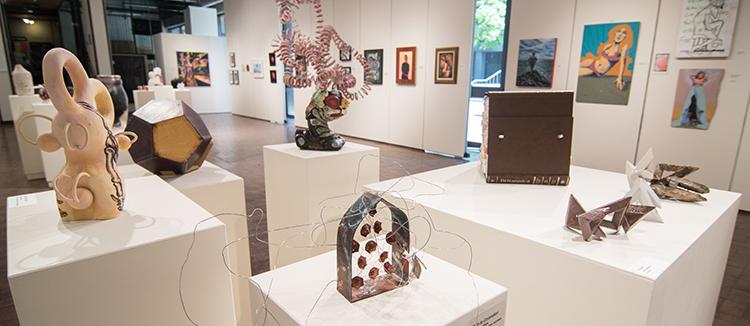 2017 Student Exhibition, Gittins Gallery. Artwork: Sierra Pete, John Tavoian, Gwen Juvenal, Karen Southam, Christian Hartshorn, Stone Anderson (foreground)