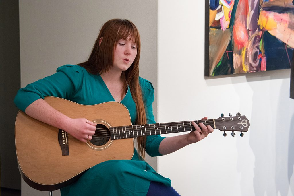 2017 Student Exhibition, Gittins Gallery. Molly McGinnis performing during the opening.