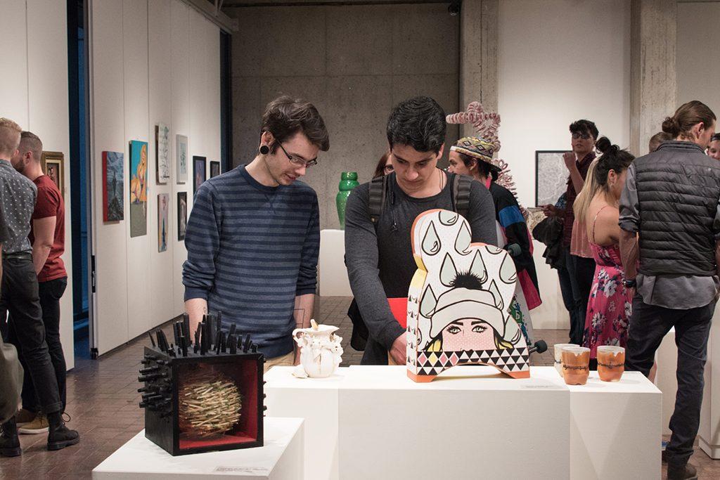 2017 Student Exhibition, Gittins Gallery. Artwork: Bobby Robertson, Macy Kennett, Chloe Rice