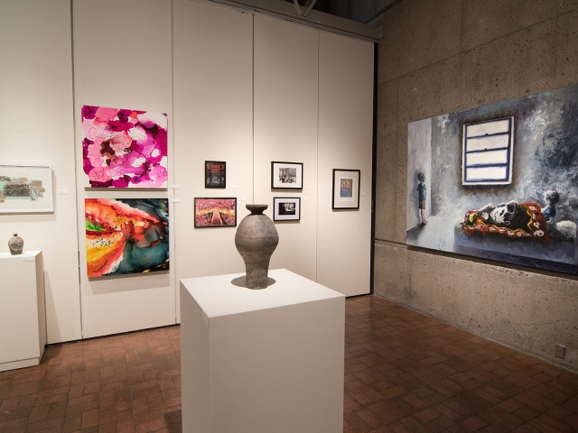 Annual Student Exhibition, 2018: installation view with artwork by Haley Canonico, Nikita Nenashev, Leah Caldwell, Hazel Coppola, Jenny Whitecar, Kristen Bennett, Hari Jung, James Hadley, and Lucy Le Bohec