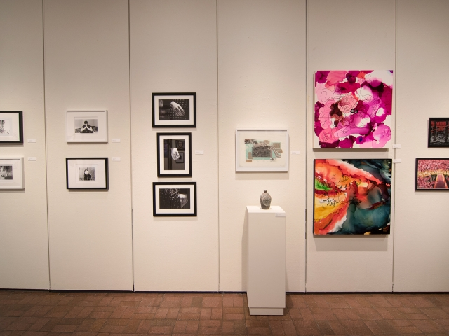 Annual Student Exhibition, 2018: installation view with artwork by Rachel Roser, Kaitlyn Irvine, Madison Lopez, Kristen Bennett, Thomas Shrieve, Haylee Canonico, Nikita Nenashev, Leah Caldwell, Hazel Coppola, and Jenny Whitecar