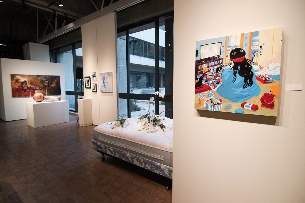 Annual Student Exhibition, 2018: installation view with artwork by Enrique Ortega, Nemo Miller, Emily McMurray, Alissa Allread, Sogol Kiamanesh, Abigail Mitchell, Christina Anderson, and Erin Strickland (foreground right)