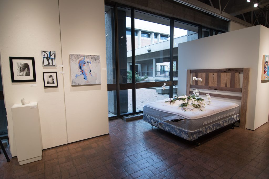 Annual Student Exhibition, 2018: installation view with artwork by Emily McMurray, Alissa Allread, Sogol Kiamanesh, Abigail Mitchell, and Christina Anderson