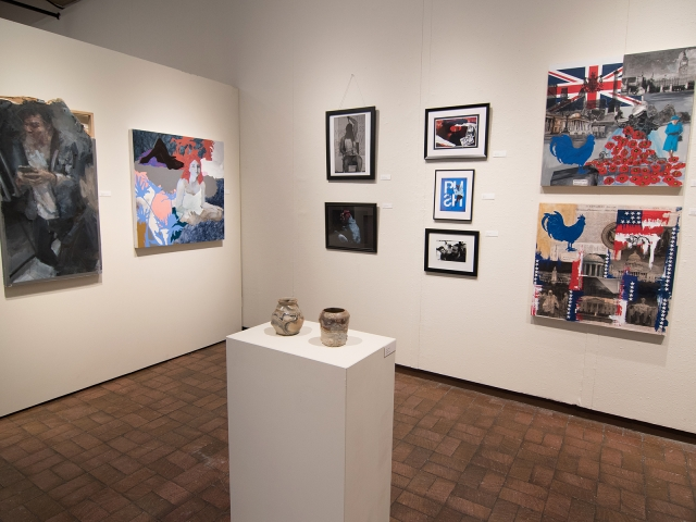 Annual Student Exhibition, 2018: installation view with artwork by Nikita Nenashev (foreground), Mitchell Lee, Abigail Mitchell, Ethan Edwards, Hazel Coppola, Chyna Farriot, Hari Jung, Natalie Hopes, and Frances Lewicki