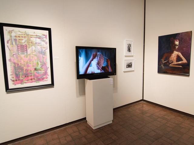 Annual Student Exhibition, 2018: installation view with artwork by James Hadley, Anita Hawkins, Madison Lopez, Sogol Kiamanesh, and Lucy Le Bohec