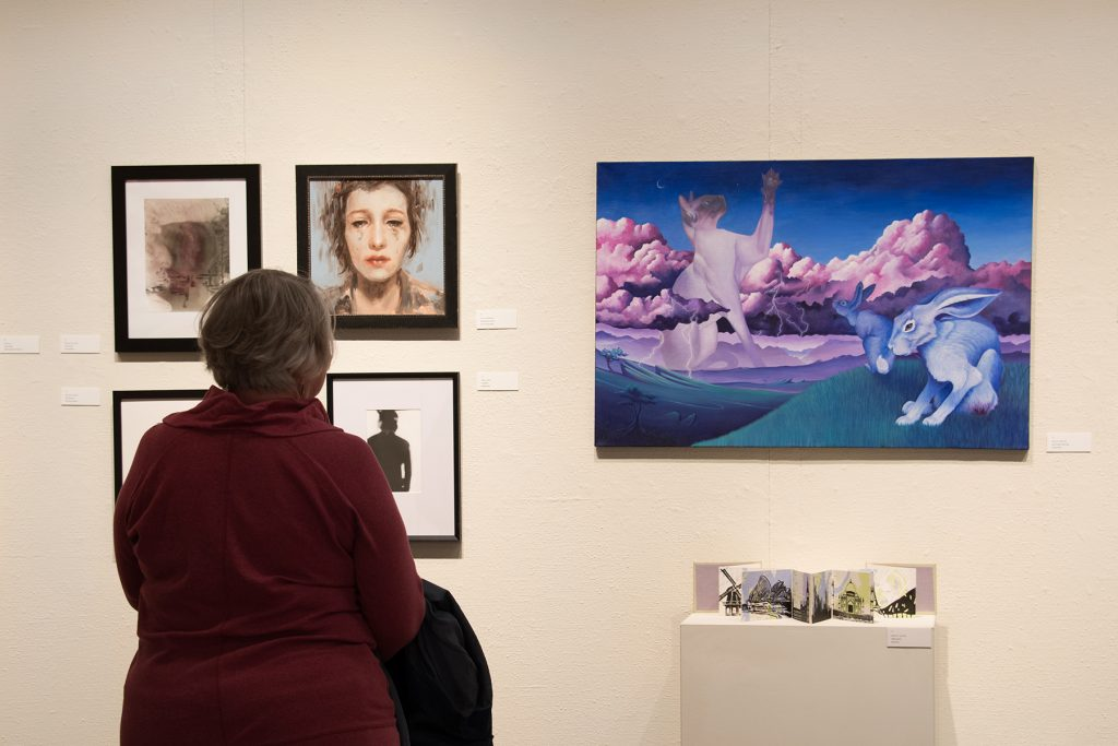 Annual Student Exhibition, 2018: Opening Reception; artwork by Natalie Hopes, Rachel Roser, Lucy Le Bohec, Hari Jung, Halley Bruno, and Noelle Olsen
