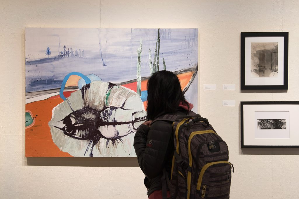 Annual Student Exhibition, 2018: Opening Reception; artwork by Dilan Li, Natalie Hopes, and Rachel Roser