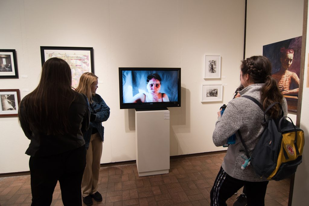 Annual Student Exhibition, 2018: Opening Reception; artwork by Anita Hawkins (video), Madison Lopez, Sogol Kiamanesh, and Lucy Le Bohec