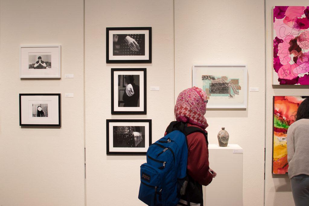 Annual Student Exhibition, 2018: Opening Reception; artwork by Madison Lopez, Kristen Bennett, Thomas Shrieve, Haylee Canonico, and Nikita Nenashev
